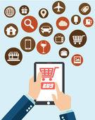 Ecommerce, shopping design for web and tablets — Stok Vektör