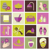 Vector illustration of various spa icons — Stock Vector