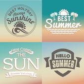 Retro elements for Summer calligraphic designs — Stock Vector