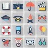Vector collection of colorful flat business and finance icons with long shadow. Design elements for mobile and web applications. — Stock Vector