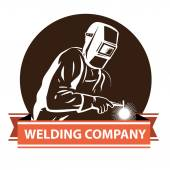 Vector illustration of a Welder at work welding , for company — Stock Vector