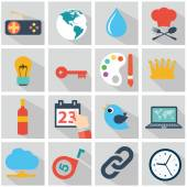 Vector collection of colorful flat business and finance icons with long shadow. Design elements for mobile and web applications. — 图库矢量图片
