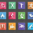 Man People Athletic Gym Gymnasium Body Building Exercise Healthy Training Fitness Workout Sign Symbol Pictogram Icon — Stock Vector #53461515