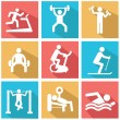 Man People Athletic Gym Gymnasium Body Building Exercise Healthy Training Fitness Workout Sign Symbol Pictogram Icon — Stock Vector #53463589
