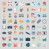 Vector collection of colorful flat business and finance icons with long shadow. Design elements for mobile and web applications. — ストックベクタ