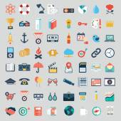 Vector collection of colorful flat business and finance icons with long shadow. Design elements for mobile and web applications. — Stockvektor