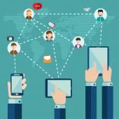 Concepto de comunicación en todo el mundo — Vector de stock