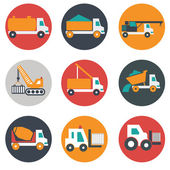Flat, modern, transport and construction vehicles — Stockvector