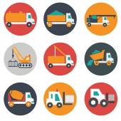 Flat, modern, transport and construction vehicles — Stock Vector