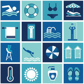Swimming Pool, modern flat icons — Stock Vector