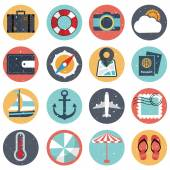 Vintage flat icons collection with long shadow in colors of traveling — Stock Vector