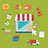 Conceito de ilustração vetorial moderno design plano de pay-per-clique o modelo de publicidade de internet quando o anúncio é clicado. isolado no fundo elegante — Vetor de Stock