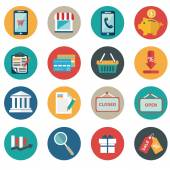 Vector collection of modern flat and colorful shopping icons. Design elements for mobile and web applications. — Vector de stock