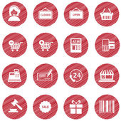 Vector collection of modern flat and colorful shopping icons. Design elements for mobile and web applications. — Stock Vector