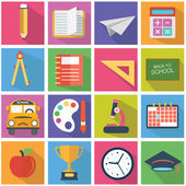Set of flat education icons, school modern style — Stock Vector