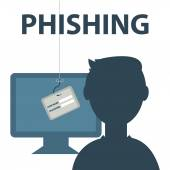 Internet Phishing a login and password concept — Stock Vector