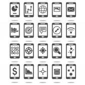 Mobile phone analytics icons set — Stock Vector
