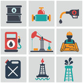 Oil, gas and petroleum icon set — Stock Vector