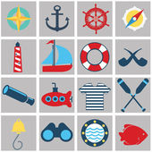 Nautical and marine icons — Stock Vector