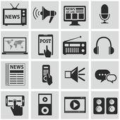 Vector black media icons set on gray — Stock Vector