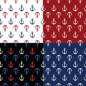Vector set of 4 patterns with marine anchors — Stockvector