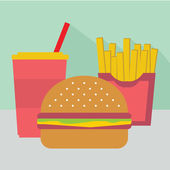 Junk food, burger, fries and soda — Vector de stock