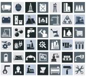 Industry, energy and construction icons set, industrial and engineering — Stock Vector