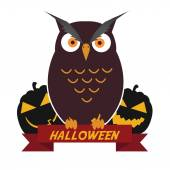 Halloween illustration owl with pumpkins on the graveyard — Vector de stock