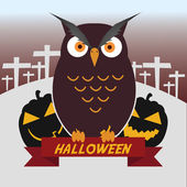 Halloween illustration owl with pumpkins on the graveyard — Stock Vector