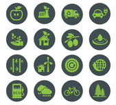 Vector green eco icons, ecology — Stock Vector