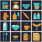 Set of vector icons of kitchen equipment, crockery and cook. — Stock Vector