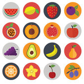 Set of flat design concept icons for food and restaurant. Healthy organic fruit and diet — Stock Vector