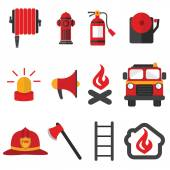 Modern firefighter, fire intervention vector set — Stock Vector