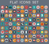 Big set of flat vector icons with modern colors of travel, marketing, hipster ,science, education ,business ,money ,shopping, objects, web — Stock Vector