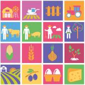 Agriculture, farm icons — Stockvektor