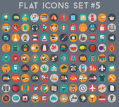 Big set of flat vector icons with modern colors of travel, marketing, hipster ,science, education ,business ,money ,shopping, objects, web — Stockvector