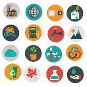 Vector green eco icons, ecology — Stock Vector