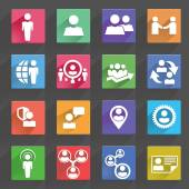 Human resources and management icons set — Stock Vector