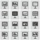 Analytic, chart on board icon set, Pictograph of graph — Stock Vector