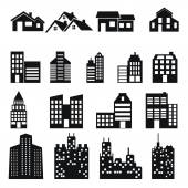 Buildings icons. Real estate. — Stock Vector