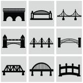 Vector isolated bridges icons set — Stock Vector