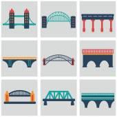 Vector isolated bridges icons set — 图库矢量图片