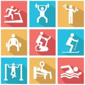 Man People Athletic Gym Gymnasium Body Building Exercise Healthy Training Fitness Workout Sign Symbol Pictogram Icon — Stock Vector
