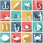 Set of vector silhouette icons of fishing — Stock Vector