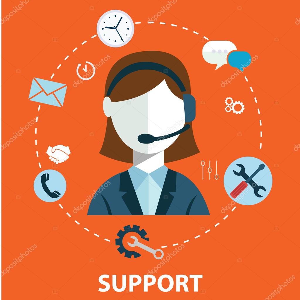 care service concept flat icons set of contact us support help desk ...