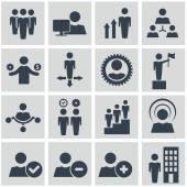 Lidských zdrojů a řízení ikony nastavit. — Stock vektor