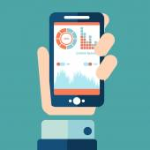 Smartphone  infographics with a hand holding a phone — Stok Vektör