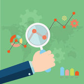 Flat vector illustration of web analytics information and development website statistic — Stock Vector