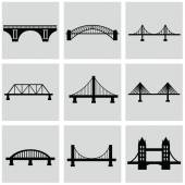 Vector isolated bridges icons set — Stock Vector