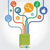 Concept vecteur d'éducation et des sciences - arbre abstrait avec des icônes et des signes — Vecteur